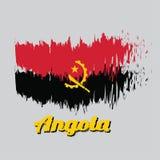 Cepille la bandera del color del estilo de Angola, dos bandas horizontales de rojo y de negro con el emblema del machete y del en stock de ilustración