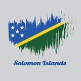 Cepille la bandera del color del estilo de Solomon, raya diagonal estrecha amarilla de A ligeramente dividida diagonalmente con e stock de ilustración