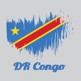 Cepille la bandera del color del estilo del Dr. Congo, campo del azul de cielo con la raya y la estrella diagonalmente rojas y am stock de ilustración