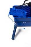 Cepillo azul del rodillo, compartimiento Fotografía de archivo