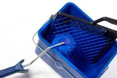 Cepillo azul del rodillo, compartimiento Foto de archivo
