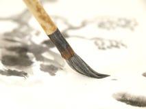 Cepillo chino de la tinta Fotografía de archivo libre de regalías