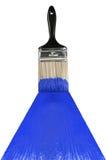 Cepillo con la pintura azul Foto de archivo libre de regalías