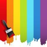 Cepillo con la pintura del arco iris Fotografía de archivo libre de regalías