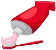 Cepillo de dientes con crema dental y el tubo ilustración del vector