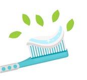 Cepillo de dientes con goma de la menta En el fondo blanco Ilustración del vector Foto de archivo