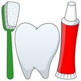 Cepillo de dientes y crema dental del diente de la historieta Imagenes de archivo