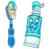 Cepillo de dientes y crema dental de la historieta ilustración del vector