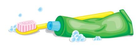 Cepillo de dientes y goma ilustración del vector