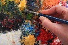 Cepillo de la mano y de pintura Imagen de archivo