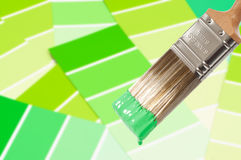 Cepillo de pintura - verde imagenes de archivo