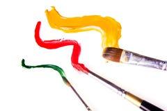 Cepillo de pintura y pintura Imagenes de archivo
