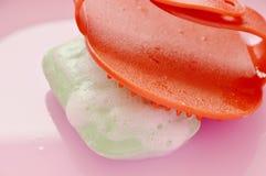 Cepillo del baño del perro y jabón de goma rojos del animal doméstico con la burbuja en el lavabo plástico rosado Imagen de archivo