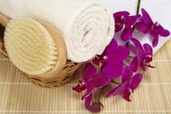 Cepillo del baño y toalla rodada en una cesta Imagen de archivo