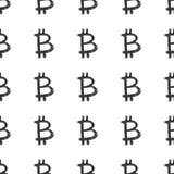 Cepillo del icono de la muestra de Bitcoin que pone letras al modelo inconsútil, símbolos caligráficos fondo, ejemplo del Grunge  ilustración del vector
