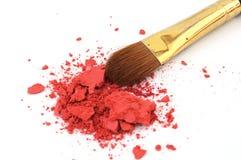 Cepillo del maquillaje y polvo del cosmético Imagenes de archivo