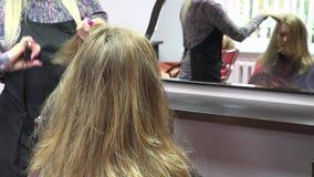 Cepillo del peluquero y pelo de corte a la mujer en sala 4K almacen de metraje de vídeo
