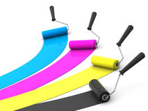 Cepillo del rodillo. CMYK stock de ilustración
