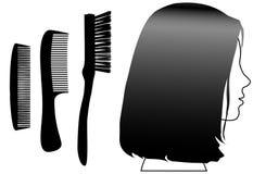 Cepillo femenino de los peines del perfil de la cara del pelo negro stock de ilustración