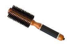 Cepillo hairstyling redondo aislado en blanco Foto de archivo libre de regalías