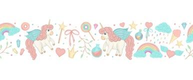 Cepillo inconsútil con unicornios lindos del estilo de la acuarela, arco iris de la frontera del vector, imagenes de archivo
