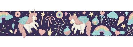 Cepillo inconsútil con unicornios lindos del estilo de la acuarela, arco iris, nubes de la frontera del vector, foto de archivo libre de regalías