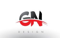 Cepillo Logo Letters de GN G N con el frente rojo y negro del cepillo de Swoosh Imagenes de archivo