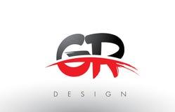 Cepillo Logo Letters de GR G R con el frente rojo y negro del cepillo de Swoosh Imagen de archivo