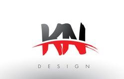 Cepillo Logo Letters de KN K N con el frente rojo y negro del cepillo de Swoosh Foto de archivo