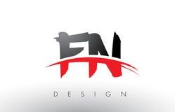 Cepillo Logo Letters del FN F N con el frente rojo y negro del cepillo de Swoosh Imágenes de archivo libres de regalías