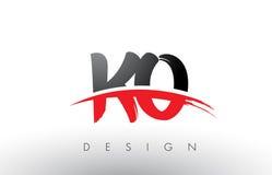 Cepillo Logo Letters del knock-out K O con el frente rojo y negro del cepillo de Swoosh ilustración del vector