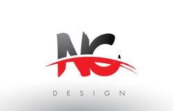 Cepillo Logo Letters del NC N C con el frente rojo y negro del cepillo de Swoosh Imágenes de archivo libres de regalías