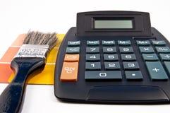 Cepillo, muestra y calculadora Imagen de archivo libre de regalías