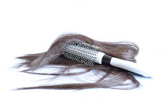 Cepillo para el pelo con el pelo Fotografía de archivo libre de regalías