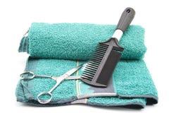 Cepillo para el pelo con las tijeras Fotografía de archivo