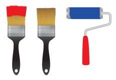 Cepillo para la pintura y el rodillo para la pintura Herramienta Imágenes de archivo libres de regalías