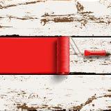 Cepillo rojo del rodillo Imagenes de archivo