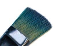 Cepillo usado azul aislado del pintor Fotografía de archivo