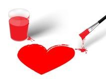 Cepillo y corazón colorido de la impresión Fotos de archivo