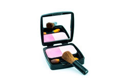 Cepillo y cosméticos del maquillaje Fotografía de archivo