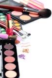 Cepillo y cosméticos del maquillaje Fotos de archivo