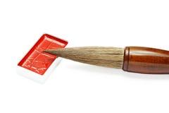 Cepillo y tinta de escritura asiático para la caligrafía aislados en blanco foto de archivo libre de regalías