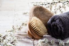 Cepillo y toalla sobre piedra y flores del cuerpo para el balneario Imágenes de archivo libres de regalías