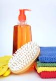 Cepillo y toallas Imágenes de archivo libres de regalías