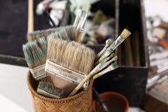 Cepillos, accesorios para los artistas Imagenes de archivo