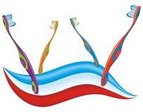 Cepillos de dientes coloreados Imagen de archivo libre de regalías