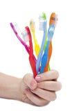Cepillos de dientes coloridos Fotos de archivo libres de regalías