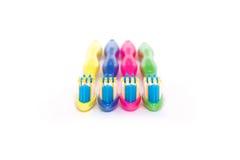 Cepillos de dientes coloridos determinados Imágenes de archivo libres de regalías