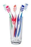 Cepillos de dientes de cristal Fotografía de archivo libre de regalías
