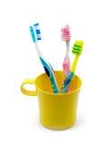Cepillos de dientes de la familia Fotografía de archivo